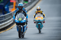 October 21, 2016 - Melbourne, Victoria, Australia - Italian rider Nicolo Bulega (#8) of Sky Racing Team VR46 exits during the 1st Moto3 Free Practice session at the 2016 Australian MotoGP held at Phillip Island, Australia. (Credit Image: © Theo Karanikos via ZUMA Wire)