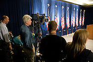 November 26th 2008 - Chicago, IL - Press Conference with newly elected President Barack Obama at the Hilton Hotel in downtown Chicago...Before the Press Conference, photojournalists get prepared...Obama announced new Economic Recovery Advisory Board adding former Federal Reserve Chairman Paul Volcker and Austan Goolsbee of the University of Chicago to his team today. ..Photo Credit: Heather A. Lindquist/Sipa..