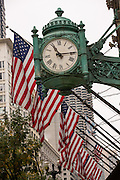 Marshall Fields clock on State Street in Chicago, IL.