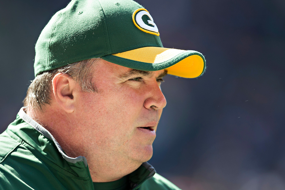 CHICAGO, IL - SEPTEMBER 13:  Head Coach Mike McCarthy of the Green Bay Packers on the field before a game against the Chicago Bears at Soldier Field on September 13, 2015 in Chicago, Illinois.  The Packers defeated the Bears 31-23.  (Photo by Wesley Hitt/Getty Images) *** Local Caption *** Mike McCarthy