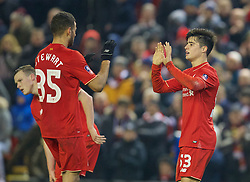 LIVERPOOL, ENGLAND - Wednesday, January 20, 2016: Liverpool's Joao Carlos Teixeira celebrates scoring the third goal against Exeter City with team-mate Kevin Stewart during the FA Cup 3rd Round Replay match at Anfield. (Pic by David Rawcliffe/Propaganda)