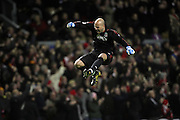 Pepe Reina jumps for joy to celebrate Liverpool's opening goal..Uefa Champions League, First knock-out round, second leg..Liverpool v Real Madrid, Anfield..10.03.09