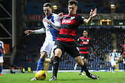 Blackburn Rovers Ben Marshall and Clint Hill during the Sky Bet Championship match between Blackburn Rovers and Queens Park Rangers at Ewood Park, Blackburn, England on 12 January 2016. Photo by Pete Burns.