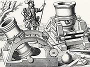Bombards on portable gun carriages.  In the front right corner is a clinometer for measuring the elevation of the guns. Engraving from 'Kriegsbuch' by Leonhardt Fronsperger (Frankfort, 1575).