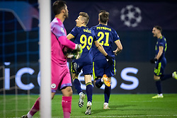 Players of Dinamo celebrating goal  during football match between GNK Dinamo Zagreb and Manchester City in 6th Round of UEFA Champions league 2019/20, on December 11, 2019 in Maksimir, Zagreb, Croatia. Photo by Blaž Weindorfer / Sportida