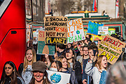 School students go on strike over the lack of action on climate change. They gather in Parliament square and march on Downing Street, blocking the streets around westminster for over an hour.