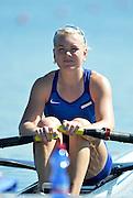 Varese,  ITALY. 2012 FISA European Championships, Lake Varese Regatta Course. ..EST W1X Kaisa PAJUSALU,  at the start for her heat of the Women's Single Sculls...13:12:42  Friday  14/09/2012 .....[Mandatory Credit Peter Spurrier:  Intersport Images]  ..2012 European Rowing Championships Rowing, European,  2012 010786.jpg.....