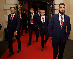 CARDIFF, WALES - Monday, October 5, 2015: Wales' Aaron Ramsey, Chris Gunter, Jonathan Williams and Joe Ledley arrive for the FAW Awards Dinner at Cardiff City Hall. (Pic by David Rawcliffe/Propaganda)
