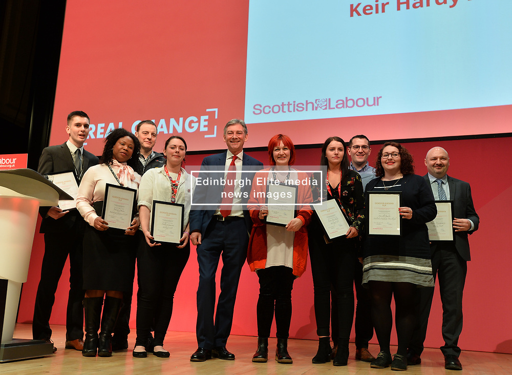 Scottish Labour leader Richard Leonard with winners of the Future Leaders' Programme at the Scottish Labour conference at the Caird Hall in Dundee.<br /> <br /> © Dave Johnston / EEm