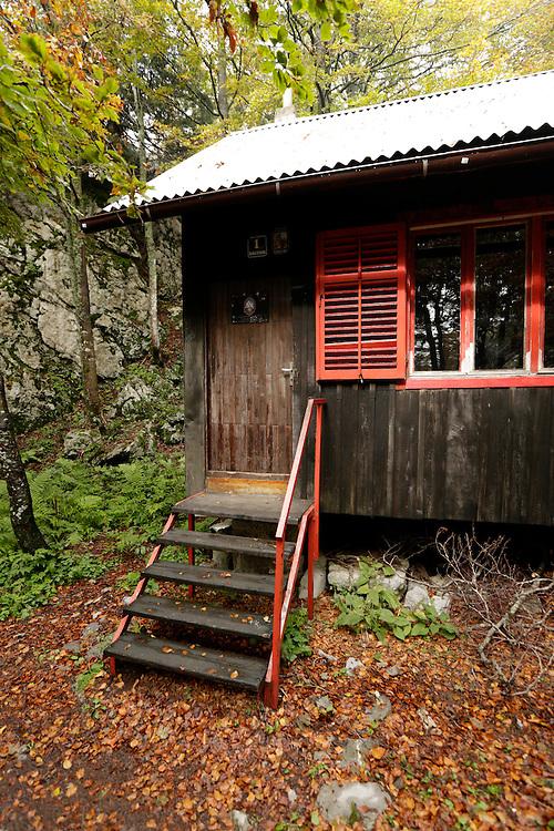 Miroslav Hirc mountain shelter, 1280m, Bijele Stijene ('White Rocks'), Velika Kapela mountain region, Croatia.