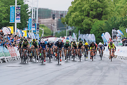 Sprint to the line won by Ting Ying Huang - Tour of Chongming Island 2016 - Stage 3. A 99 km road race on Chongming Island, China on May 8th 2016.