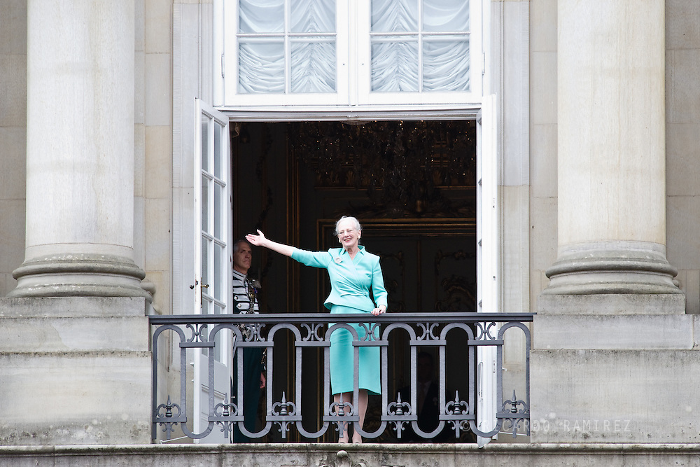 16.04.2015. Copenhagen, Denmark.Queen Margarethe II of Denmark waves from a balcony at Amalienborg Palace during festivities for her 75th birthday.Photo:© Ricardo Ramirez