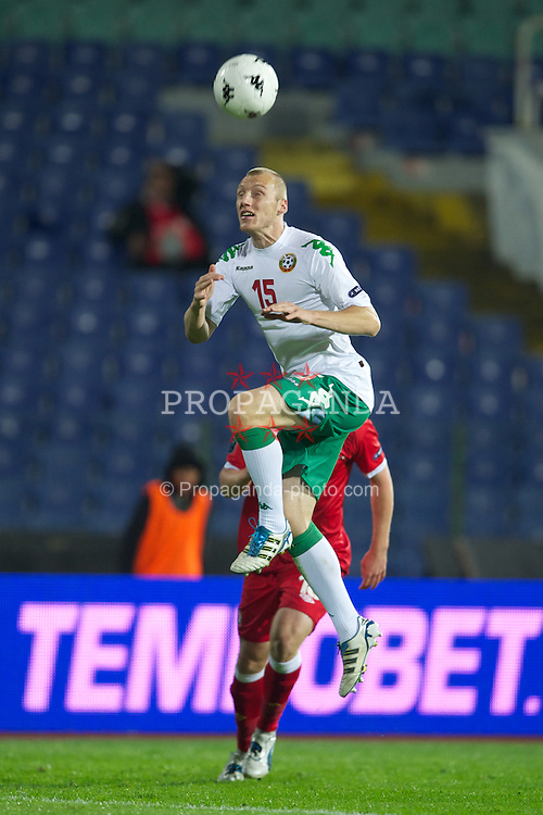 SOFIA, BULGARIA - Tuesday, October 11, 2011: Bulgaria's Ivan Ivanov in action against Wales during the UEFA Euro 2012 Qualifying Group G match at the Vasil Levski National Stadium. (Pic by David Rawcliffe/Propaganda)