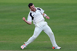 Middlesex's James Harris celebrates the wicket of Somerset's Jim Allenby. - Photo mandatory by-line: Harry Trump/JMP - Mobile: 07966 386802 - 28/04/15 - SPORT - CRICKET - LVCC Division One - County Championship - Somerset v Middlesex - Day 3 - The County Ground, Taunton, England.