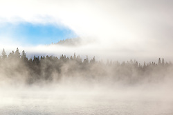"""Donner Lake Morning 11"" - Photograph of a foggy Donner Lake shot in the morning."