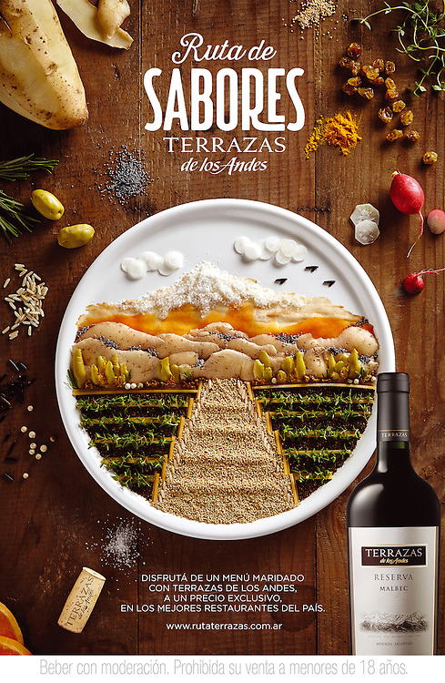 &quot;Ruta de Sabores&quot;<br /> Food Illustration for the Mo&euml;t Hennessy / Terrazas Wine campaign.<br /> Buenos Aires, Argentina<br /> Food Styling &amp; Design: Anna Keville Joyce | AKJ Foodstyling<br /> Photography: Agust&iacute;n Nieto | HQF Studio