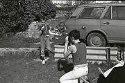 Gavin taking Neville's Photo, Hawthorne Road, High Wycombe, UK. 1980s.