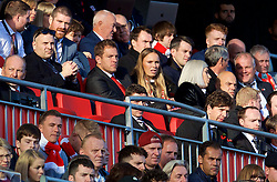 LIVERPOOL, ENGLAND - Sunday, November 11, 2018: Liverpool supporter and former WTA World Number 1 and double Liverpool International Tennis champion Caroline Wozniacki watches the Reds beat Fulham 2-0 with her boyfriend David Lee (L) during the FA Premier League match between Liverpool FC and Fulham FC at Anfield. (Pic by David Rawcliffe/Propaganda)