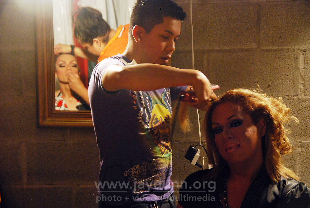 "USA, Chicago, Illinois, September 16, 2009.  Late into the evening and the small hours of the next morning, celebrants of Mexico's Independence Day flocked to Ruben Lechuga's ""La Cueva"" club to cheer on six candidates for ""Miss Gay Mexico 2009."" Photographs commissioned by HOY newspaper for a feature story."