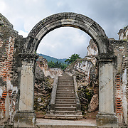 Arch at the ruins of the Iglesia y Convento de La Recolección in Antigua, Guatemala. The church was destroyed by the earthquake of 1773.