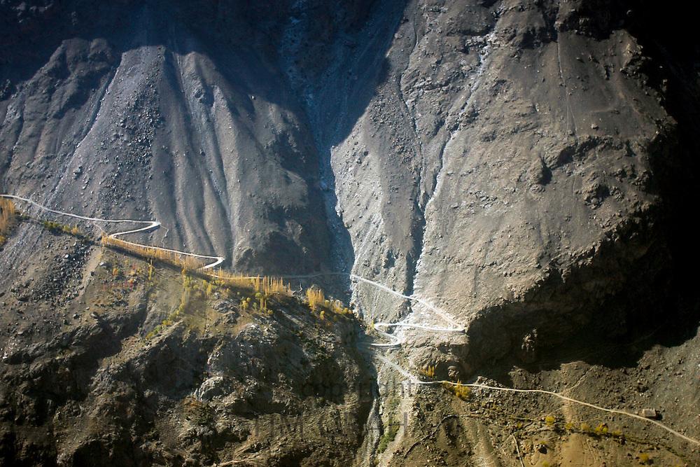 Roadway through Karokoram mountain range by Skardu Valley in Northern Pakistan
