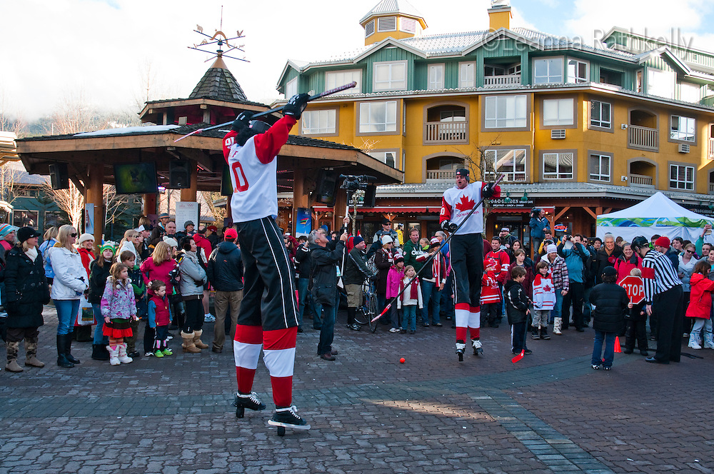 A comedy troupe, Duh Hockey Guys, entertain crowds during the 2010 Olympic Winter Games in Whistler, BC Canada.