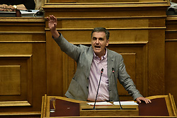 June 16, 2018 - Athens, Attiki, Greece - Speech of Greek Minister of Finance Euclid Tsakalotos, during the debate and vote on the motion of mistrust against the Government. (Credit Image: © Dimitrios Karvountzis/Pacific Press via ZUMA Wire)