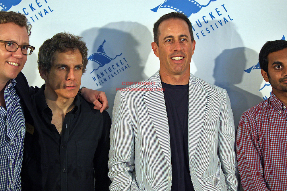 Jerry Seinfeld is seen at the Nantucket Film Festival, June 26,2011with from left, Colin Stanfield, Ben Stiller, Aziz Ansari. Staff photo by Mark Garfinkel