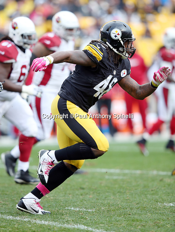 Pittsburgh Steelers linebacker Bud Dupree (48) chases the action during the 2015 NFL week 6 regular season football game against the Arizona Cardinals on Sunday, Oct. 18, 2015 in Pittsburgh. The Steelers won the game 25-13. (©Paul Anthony Spinelli)