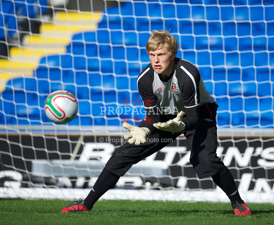 CARDIFF, WALES - Wednesday, October 6, 2010: Wales' goalkeeper David Cornell during a training session at the Cardiff City Stadium ahead of the Euro 2012 qualifying Group G match against Bulgaria. (Pic by David Rawcliffe/Propaganda)