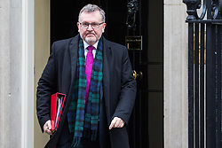 London, UK. 12th February, 2019. David Mundell MP, Secretary of State for Scotland, leaves 10 Downing Street following a Cabinet meeting.
