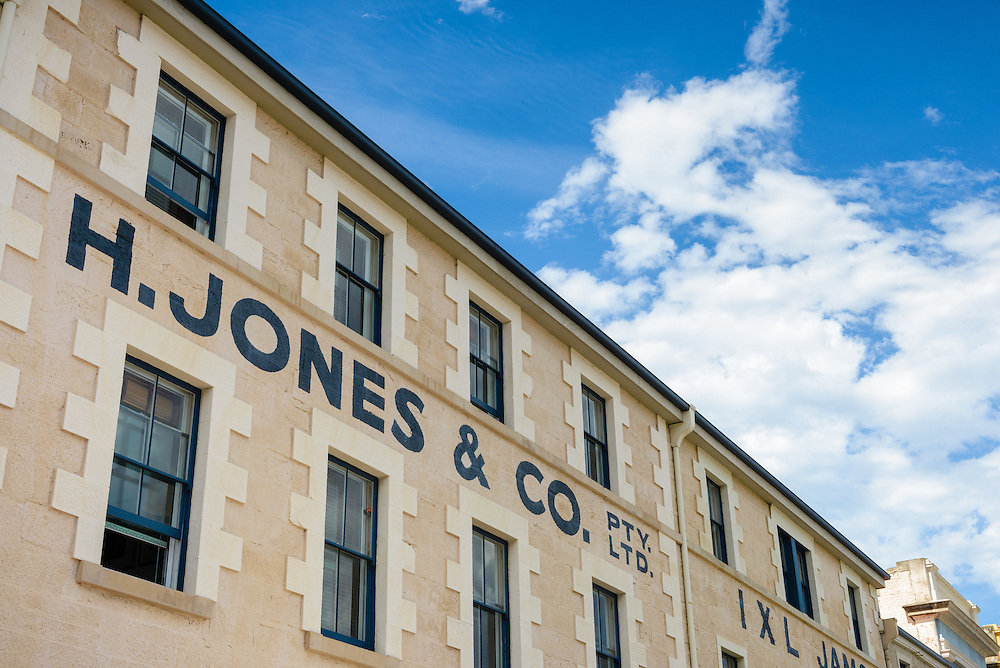 Historic sandstone buildings on Macquarie Wharf at Hobart waterfront