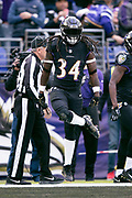 Baltimore Ravens running back Alex Collins (34) does an end zone dance as he celebrates after running for a 7 yard touchdown good for a 7-0 first quarter Ravens lead during the NFL week 11 regular season football game against the Cincinnati Bengals on Sunday, Nov. 18, 2018 in Baltimore. The Ravens won the game 24-21. (©Paul Anthony Spinelli)