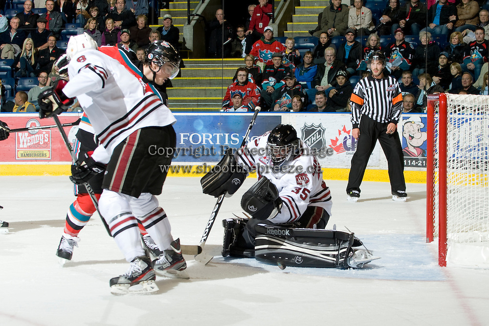 KELOWNA, CANADA, NOVEMBER 9: Patrik Bartosak #35 of the Red Deer Rebels makes a save as the Red Deer Rebels visit the Kelowna Rockets  on November 9, 2011 at Prospera Place in Kelowna, British Columbia, Canada (Photo by Marissa Baecker/Shoot the Breeze) *** Local Caption ***