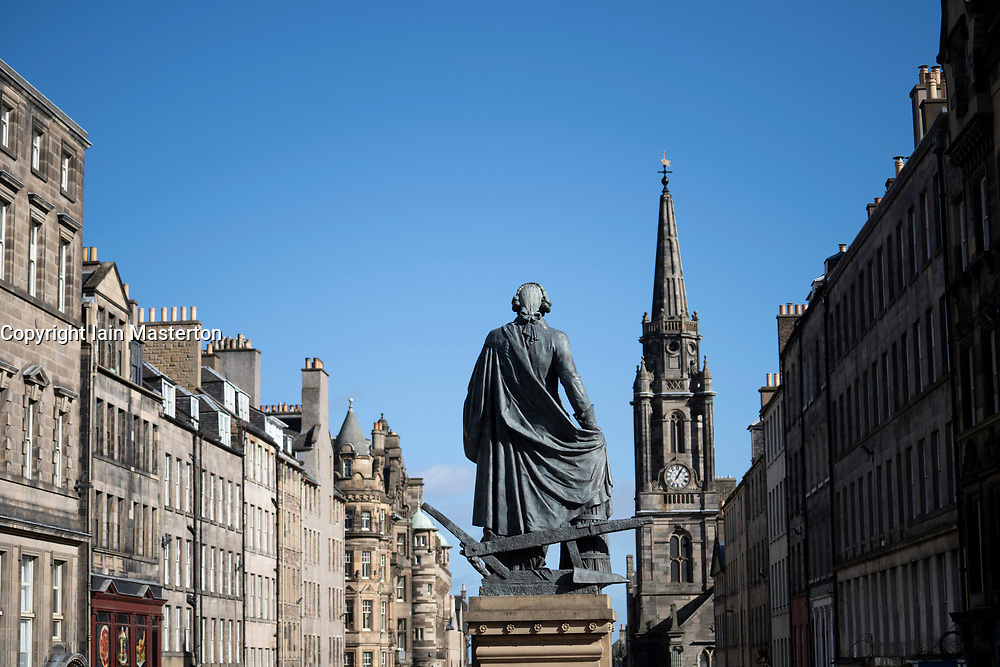 Adam Smith statue on royal Mile in Edinburgh Old Town, Scotland, UK