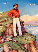 Giuseppe Garibaldi (1807-1882) Italian patriot.  In 1860, at the head of his l,000 Red Shirts, he conquered Sicily and Naples.  Garibaldi, in his signature red shirt, gazing towards his beloved Italy from a cliff edge on the island of Caprera off the coast of Sicily. Illustration c1920.