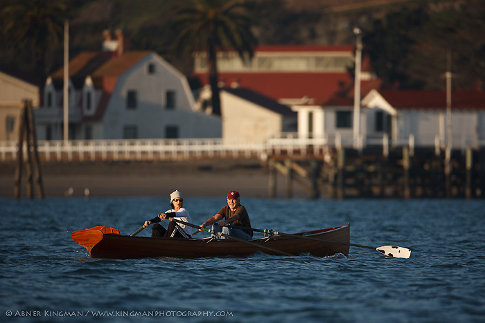 Ed Decossio and Renee Decossio, father daughter team, rowing in San Francisco Bay, Dolphin Club