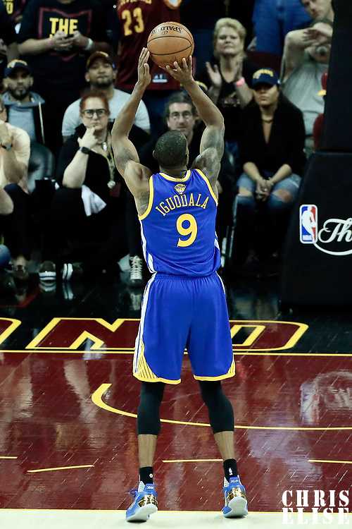07 June 2017: Golden State Warriors forward Andre Iguodala (9) is seen at the free throw line during the Golden State Warriors 118-113 victory over the Cleveland Cavaliers, in game 3 of the 2017 NBA Finals, at  the Quicken Loans Arena, Cleveland, Ohio, USA.