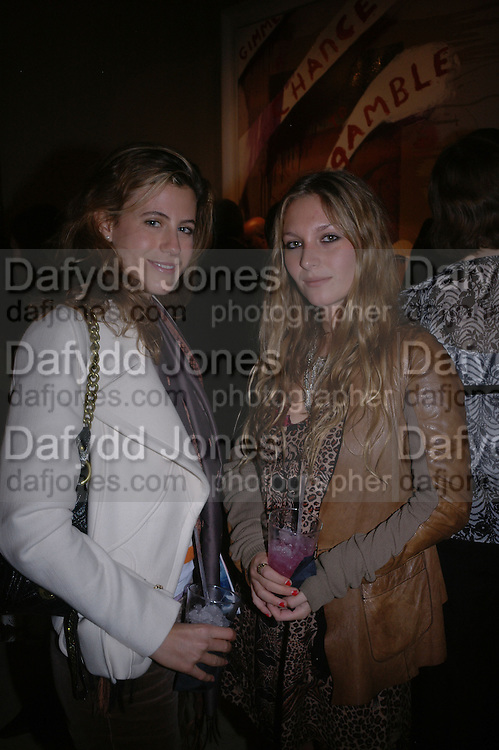 Francesca Versace and Josephine La Baume. Pintura del Siglo XXI - Julian Schnabel exhibition. ROBILANT + VOENA, Dover St. London. 19  October 2005. ONE TIME USE ONLY - DO NOT ARCHIVE © Copyright Photograph by Dafydd Jones 66 Stockwell Park Rd. London SW9 0DA Tel 020 7733 0108 www.dafjones.com