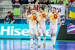Lin of Spain, Marc Tolrr of Spain and Solano of Spain celebrates during futsal match between Spain and Portugal in Final match of UEFA Futsal EURO 2018, on February 10, 2018 in Arena Stozice, Ljubljana, Slovenia. Photo by Ziga Zupan / Sportida