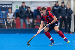 Hampstead & Westminster's Harry Martin. Hampstead & Westminster v Surbiton - Men's Hockey League Final, Lee Valley Hockey & Tennis Centre, London, UK on 29 April 2018. Photo: Simon Parker