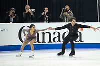 KELOWNA, BC - OCTOBER 25: American figure skaters Jessica Calalang and Brian Johnson compete in the pairs short program of Skate Canada International held at Prospera Place on October 25, 2019 in Kelowna, Canada. (Photo by Marissa Baecker/Shoot the Breeze)