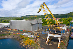 Aerial view of Burntisland Fabrications Ltd ( BiFab) yard at Burntisland in Fife, Scotland, UK