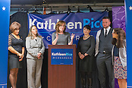 Bellmore, New York, USA. September 16, 2014. At podium, KATHLEEN RICE, Democratic congressional candidate (NY-04), joined by local LGBT actvitists, calls for congressional action both to pass legislation prohibiting employment discrimination on basis of sexual orientation and gender identity, and to totally repeal the Defense of Marriage Act. L-R, BARBARA SALVA of LITAC Long Island Transgender Advocacy Coalition; a LGBT advocate; candidate Rice; TAWNI ENGEL Pride for Youth Program Leader; PETE CARNEY Director of Pride for Youth; and LINDA LEONARD Executive Director of Pride for Youth. Rice first toured Pride for Youth, a program that provides services for lesbian, gay, bisexual and transgender youth and their families. Rice is in her third term as Nassau County District Attorney.