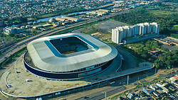 Vista geral da Arena do Grêmio, localizada no bairro Humaitá, zona norte de Porto Alegre. De acordo com a Construtora OAS, responsável pelo empreendimento, o novo estádio tricolor será inaugurado dia 8 de dezembro de 2012 e será utilizado como campo oficial de treino durante a Copa do Mundo de 2014. FOTO: Emmanuel da Rosa/ Agência Preview