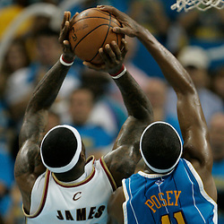 01 November 2008:  New Orleans Hornets forward James Posey (41) blocks a shot by Cleveland Cavaliers forward LeBron James (23) during a 104-92 win by the New Orleans Hornets over the Cleveland Cavaliers at the New Orleans Arena in New Orleans, LA..