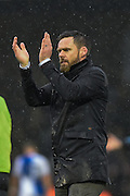 Scunthorpe United Manager, Graham Alexander applauded the fans at full time during the EFL Sky Bet League 1 match between Bristol Rovers and Scunthorpe United at the Memorial Stadium, Bristol, England on 25 February 2017. Photo by Adam Rivers.