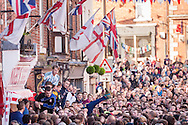 At 2pm each Shrove Tuesday and Ash Wednesday, the residents of the town of Ashbourne, Derbyshire, gather in the streets to play the ancient game of Royal Shrovetide Football.<br />