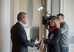 © Licensed to London News Pictures. 24/03/2015. Folkstone, UK. NIGEL FARAGE gives a television interview.  Harriet Yeo has been named as Ukip's new Folkestone and Hythe general election candidate following the expulsion of Janice Atkinson over allegations of an inflated expenses claim.. Photo credit : Stephen Simpson/LNP