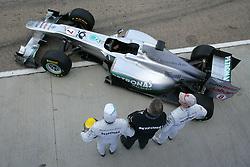 Motorsports / Formula 1: World Championship 2011, Test Valencia, Ross Brawn ( Mercedes GP ), Nico Rosberg (GER, Mercedes GP Petronas), Michael Schumacher (GER, Mercedes GP Petronas), with the new Mercedes GP car MGP W02